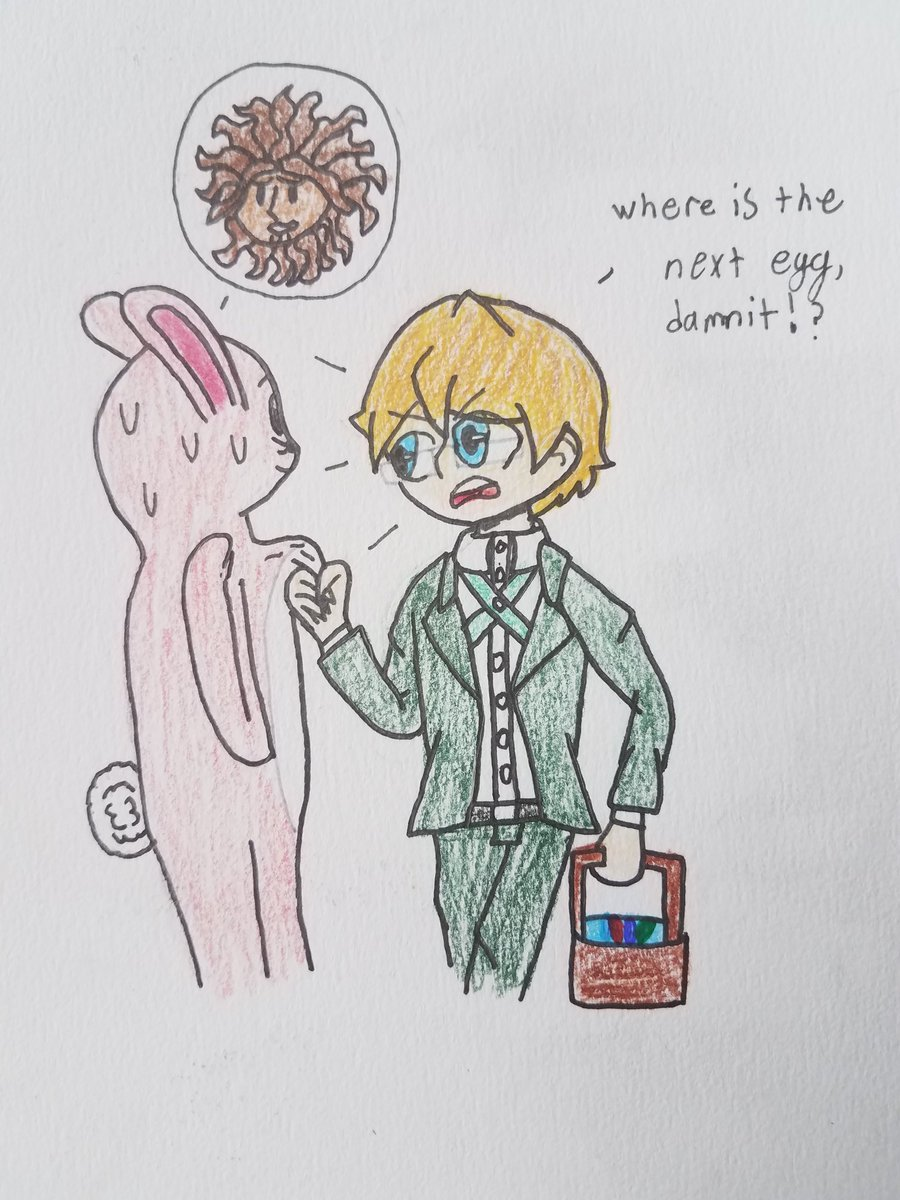 I decided to draw this scene from nicob let's play of the v3 bonus mode, where Togami is harrashing the Easter bunny (aka hagakure) to tell him where the eggs are. Enjoy #danganronpa #nicob @NicoB7700