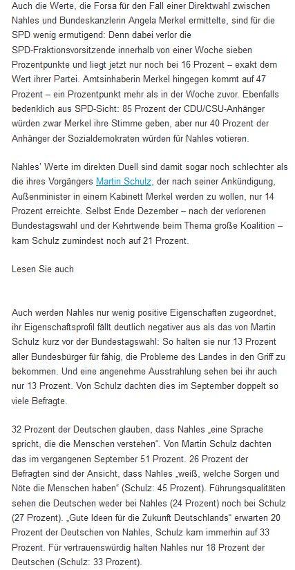 Übrigens: Für die SPD weitaus besorgniserregender als die effekthascherische INSA-Umfrage sind die Details der heutigen Forsa-Erhebung zu Andrea Nahles und ihrer Popularität. https://t.co/KmaQkheOX7