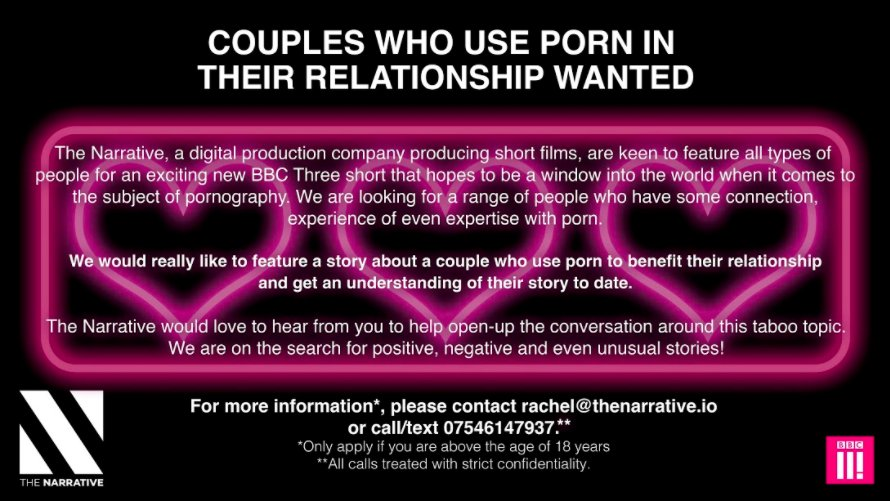 ... looking for couples who use porn in their relationship. If you think  your customers would be interested in this opportunity please could you RT  this!