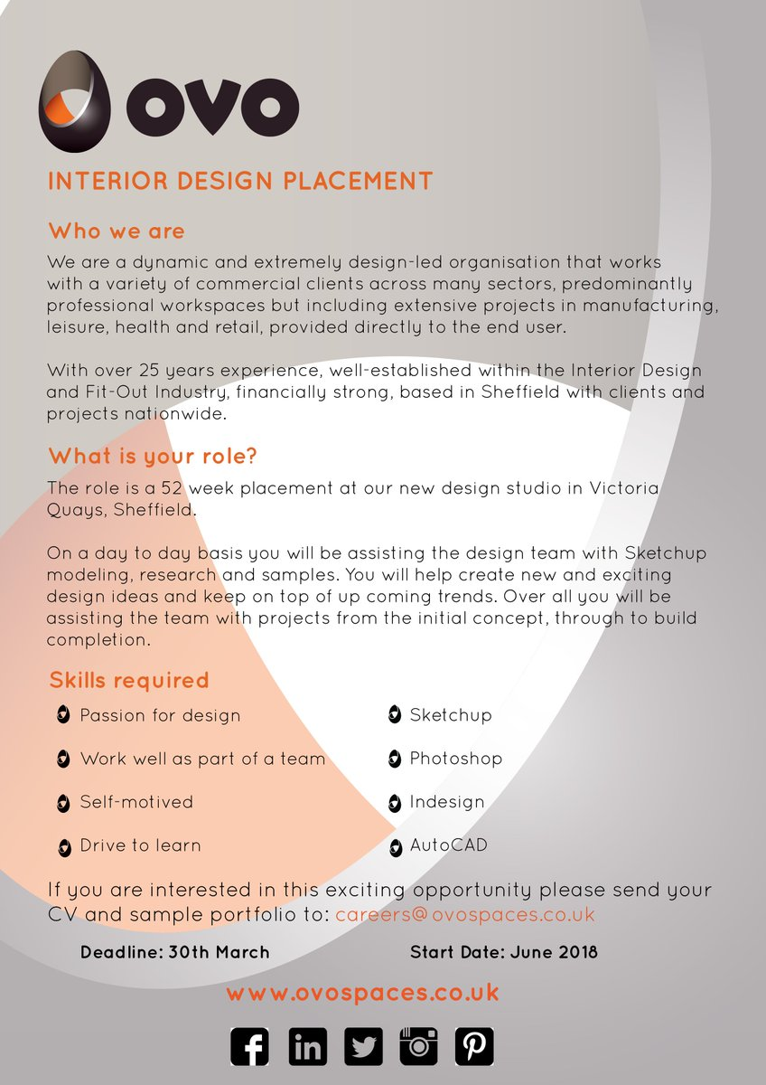 ... Interior Design Intern to start a placement this Summer with the amazing team at Ovo Spaces Sheffieldu0027s most innovative Interior Design and Build ...  sc 1 st  Twitter & Ovo Spaces on Twitter: