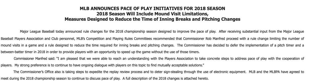 MLB announces its pace-of-play measures...