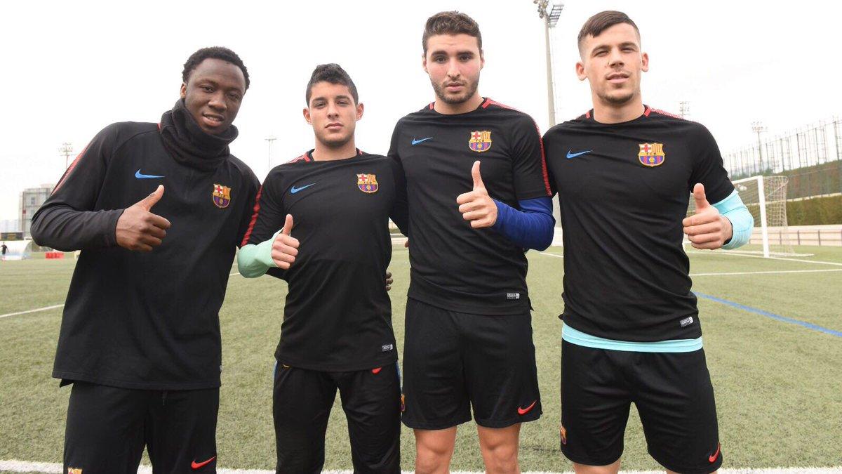 � Ballou Tabla, Dani Morer, Abel Ruiz et C. Pérez renforcent les juvenils A pour le 1/8ème de finale de #UEFAYouthLeague demain à 16h face au PSG.
