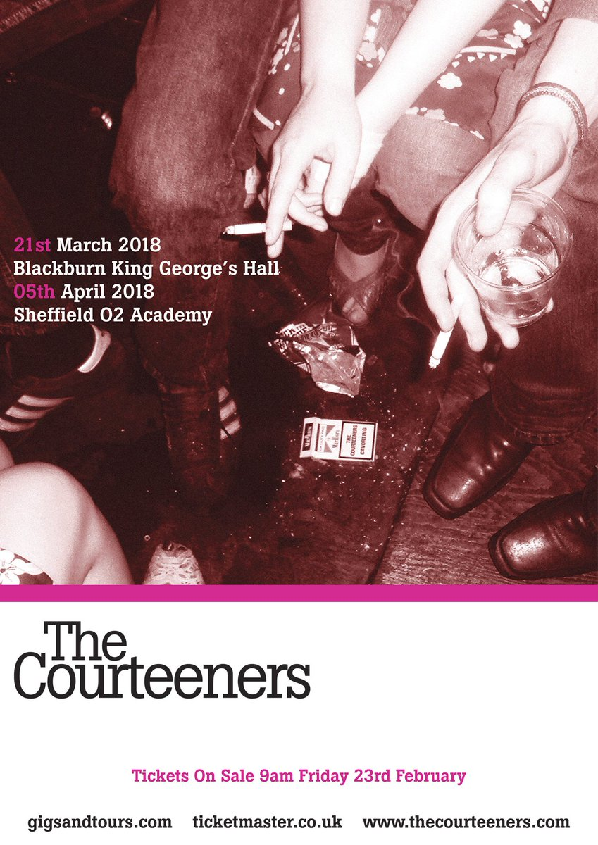 Courteeners are pleased to announce two special warm up shows at Blackburn @kinggeorgeshall on Wednesday 21st March and Sheffield @O2AcademySheff on Thursday 5th April 2018. Tickets on general sale Friday at 9am from gigst.rs/CT2018