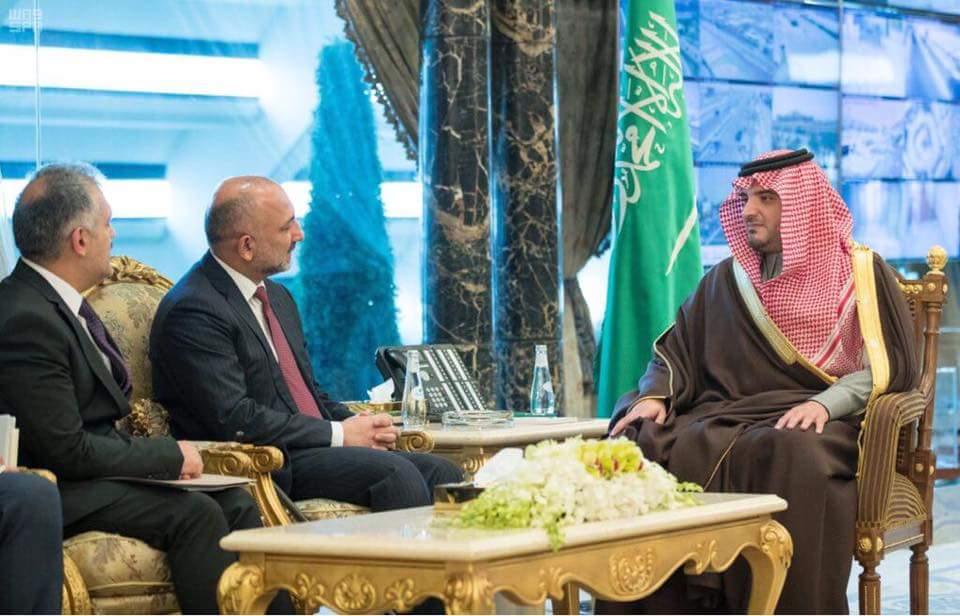 NSA met with Saudi Interior Minister Prince Abdulaziz bin Saud, discussed fight agnst terrorism,peace process, bilateral security cooperation, preventing drug production& trafficking, providing facilities& resolving isaues of AFG traders,& employement oppt. for Afg workers in SA.