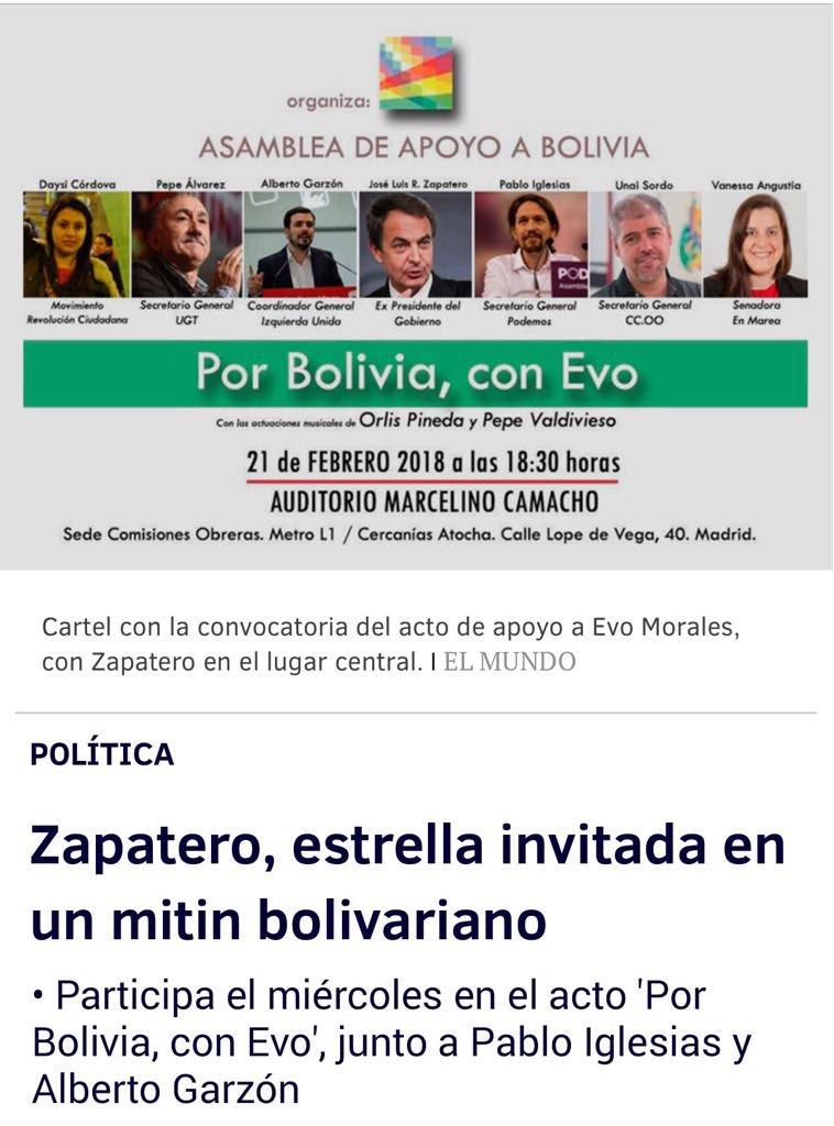 """Para quien dudaba de que lado e$taba Zapat€ro en el """"Diálogo"""" en Dominicana. Al lado de Podemos y otros zurdos rojos"""