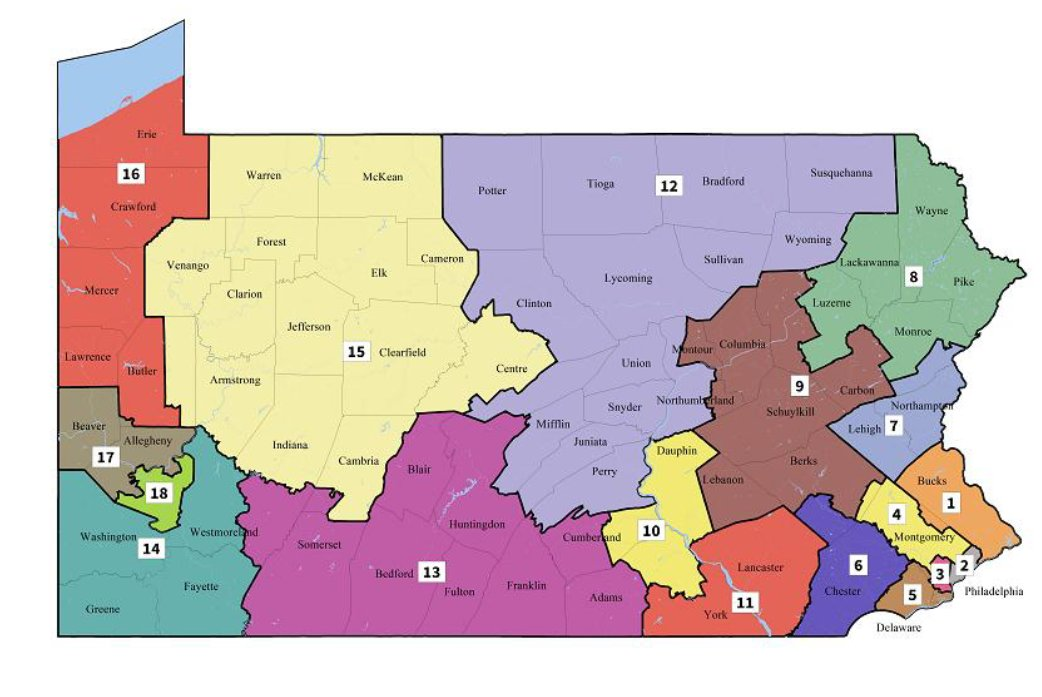 HARRISBURG, Pa. (@AP) — Pennsylvania court issues new congressional district  map for 2018 elections; map almost certain to face GOP challenge.