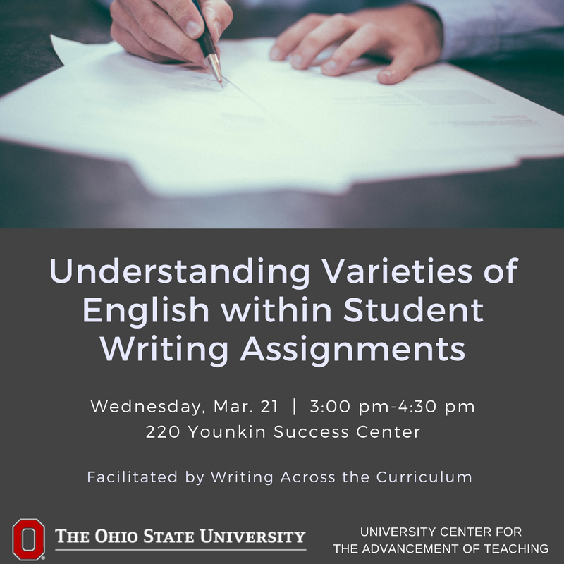 Students' diverse experiences  influence how they approach writing assignments. Join us & @OSUwriting to learn approaches for supporting domestic and international students' complex cultural and linguistic backgrounds as writers. March 21 Register: https://t.co/xCnThf36oX