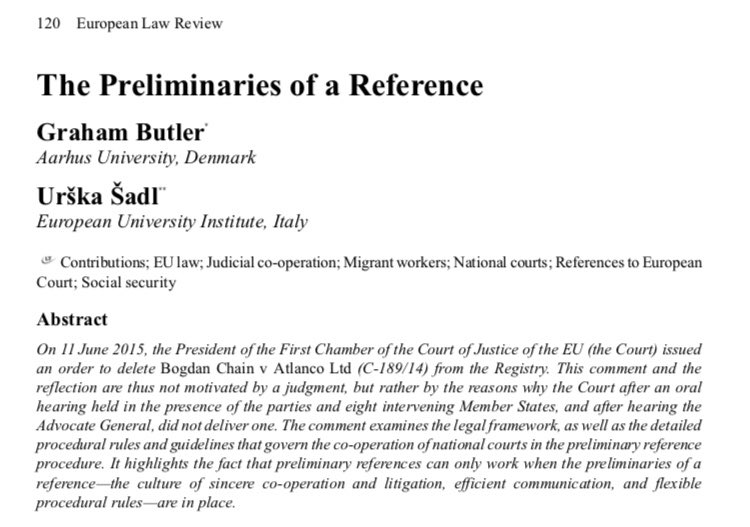 preliminary ruling eu law essay Era, november 2011 c naômé - 3preliminary ruling definition of the preliminary ruling procedure mechanism of cooperation between national courts and the ecj « dialogue » between national court and.