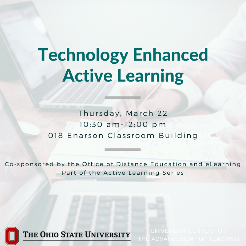 Want to learn more about using technology to enhance active learning? Join us and @TechOhioState to develop and plan active learning activities with technology on March 22. Register: https://t.co/JE3TqxQXjz