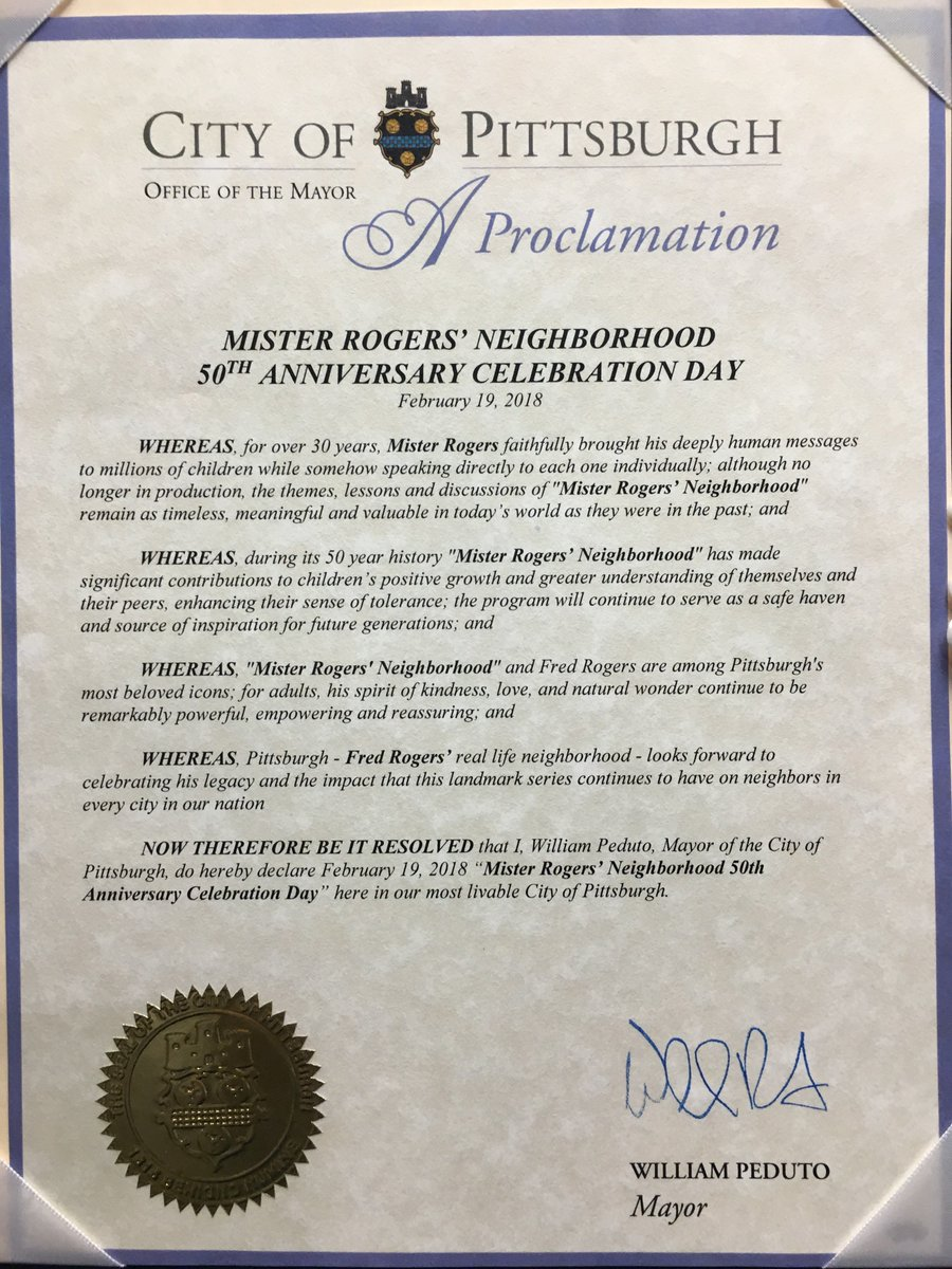 Fred Rogers Productions On Twitter Billpeduto Has Officially Proclaimed Today Mister Rogers Neighborhood 50th Anniversary Day As King Friday Xiii Would Say This Royal Proclamation Pleases This Company Immensely Misterrogers50 Https T Co