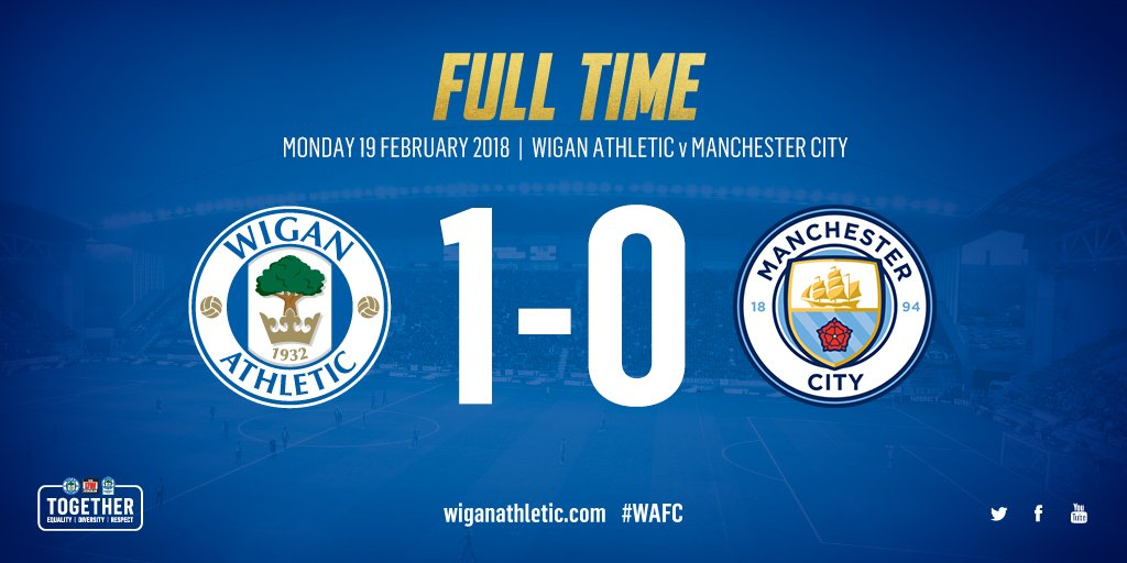 IT'S OVER! Latics 1 @ManCity 0!  @WillGrigg the hero 🔥🔥🔥  WHAT AN EVENING IN THE @EmiratesFACup 💪  #wafc