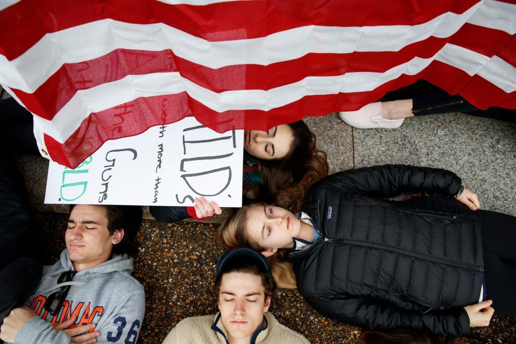 As teens stage a 'lie-in' outside the White House, President Trump offered support for improved background checks https://t.co/mZK08JORyv