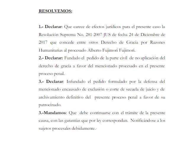 Parte de la resolución judicial que revoca la gracia presidencial otorgada a Alberto Fujimori