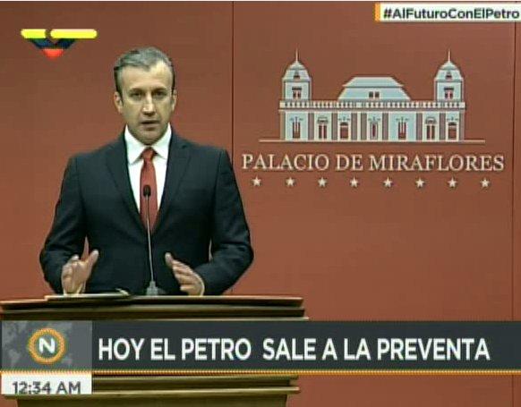 #EnVivo🔴  Vicepresidente Ejecutivo @TareckPSUV : Venezuela, primer Estado que lanza su criptomoneda respaldada en su riqueza #AlFuturoConElPetro
