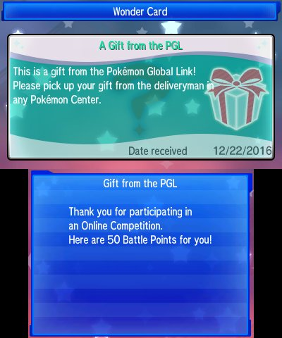Serebii Update: The 50BP gift for competing in the 2018 International Challenge January Battle Competition is now available. Log into the Global  Link and follow this link to obtain: 3ds.pokemon-gl.com/present/947d39… serebii.net/index2.shtml
