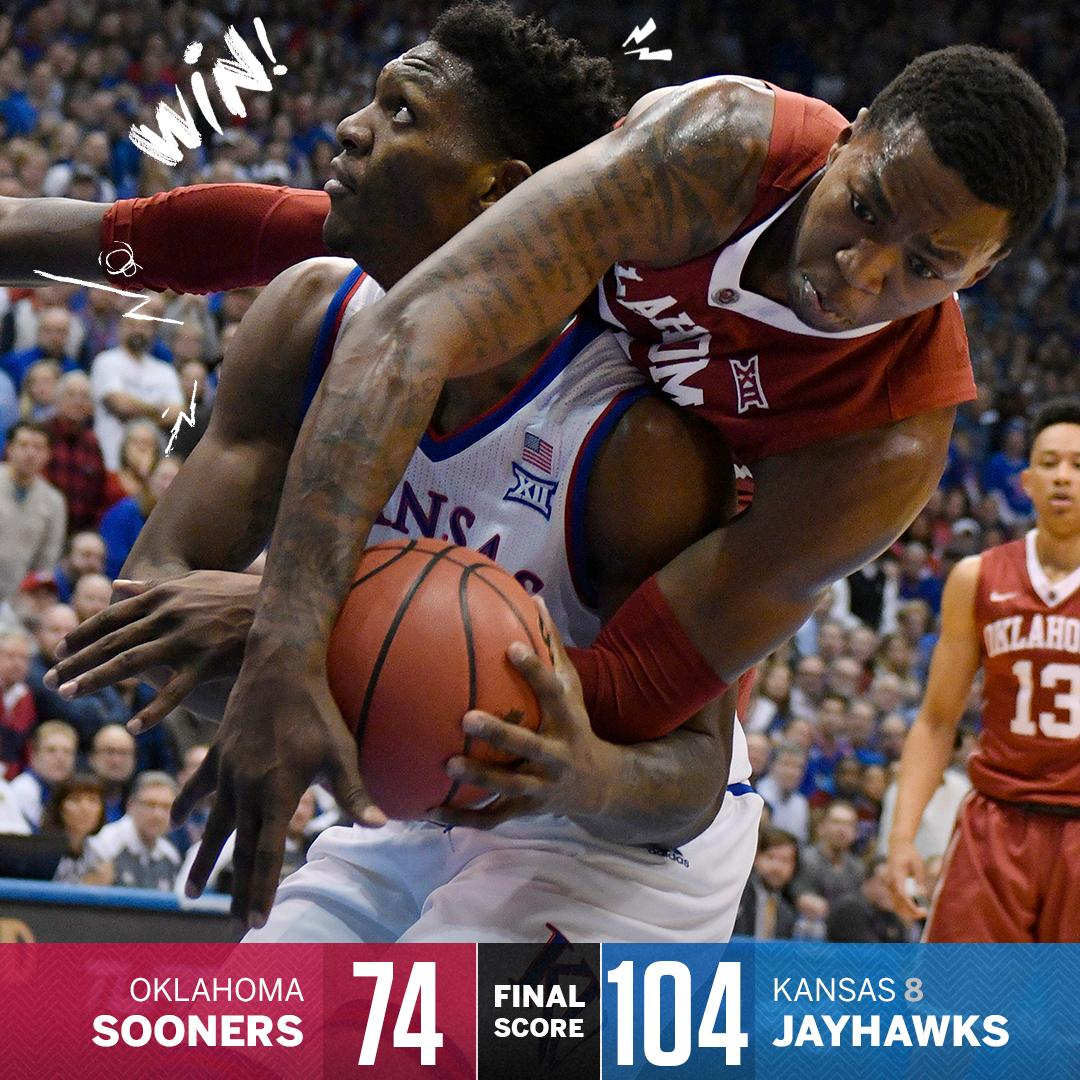 Rock Chalk!  No. 8 Kansas takes care of business, routing Trae Young and the Oklahoma Sooners.