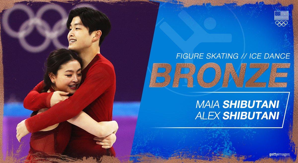 Sibling duo @MaiaShibutani &  tak@AlexShibutanie  in #bronzeice dance with 192.59 points at the 2018 ! #WinterOlympics#GoTeamUSA