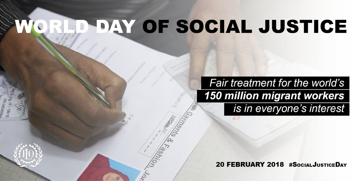 Migrant workers deserve better. Just like anyone else, they are entitled to fair treatment, to social justice.   https://t.co/oVbV59YxIX  #SocialJusticeDay