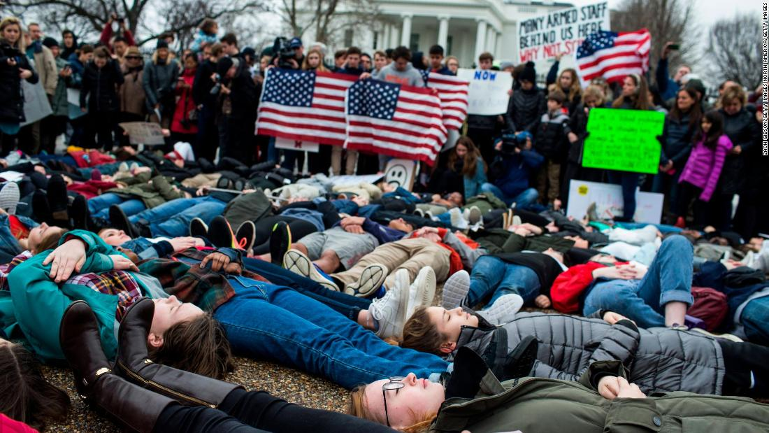 A group of teens and more than a hundred supporters staged a lie-in outside the White House to demand gun reform cnn.it/2EFe0Z4
