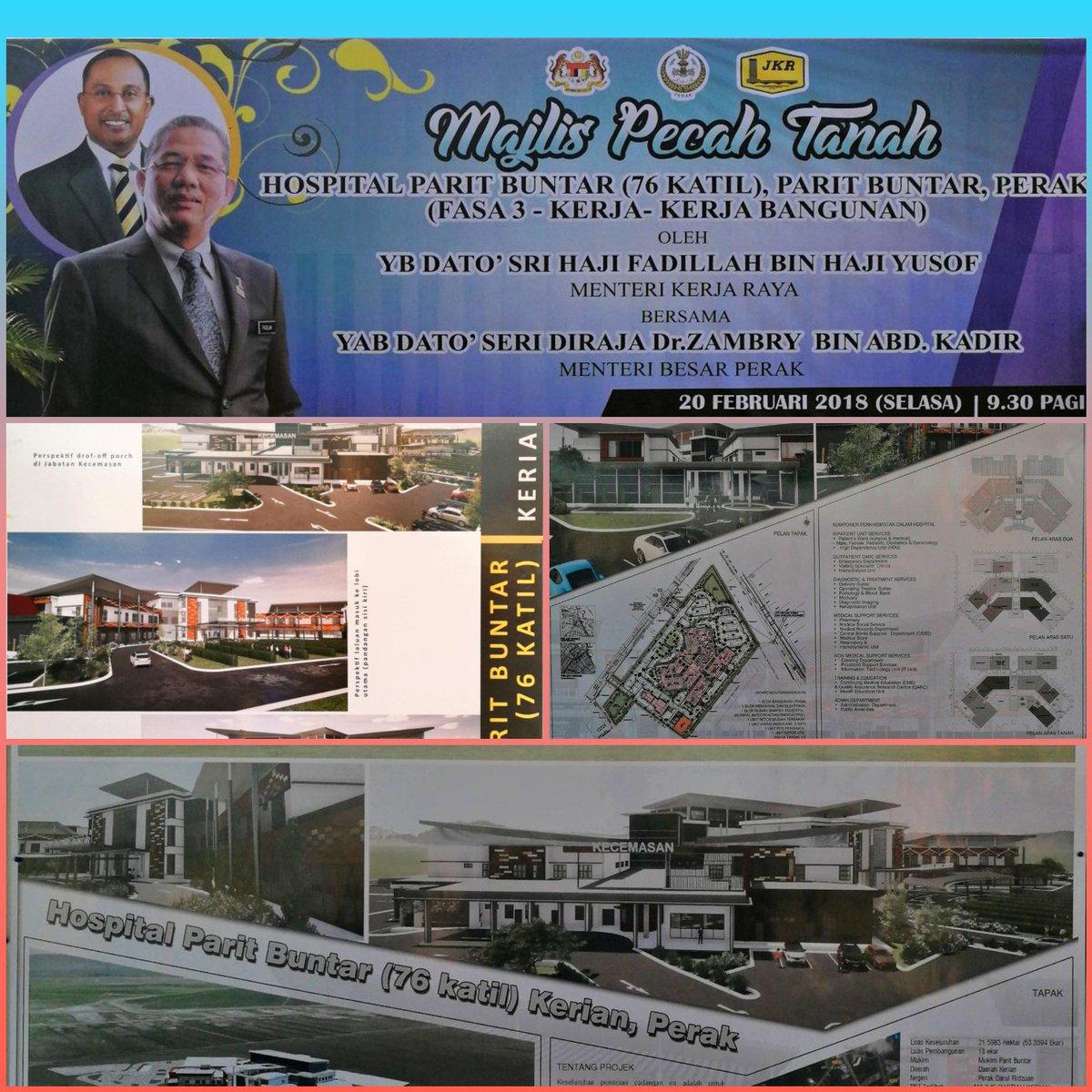 KPKR @RoslanMdTaha hadir majlis permulaan pembinaan Hospital Parit Buntar yg disempurnakan oleh YBM @PetraJayaMP. Projek hospital 76 katil pertama gunapakai kaedah Building information Modelling BIM  @NajibRazak #InfraRakyat @ZambryOfficial @MOWorks @JKRMalaysia @KKMPutrajaya