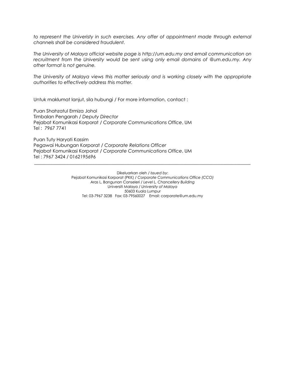 Universiti Malaya On Twitter Media Statement Job Recruitment Fraud Please Beware Of The Fake Offer Using The Name Of University Of Malaya