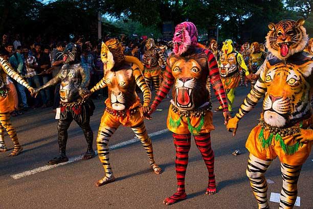 Image result for kerala puli kali festival images