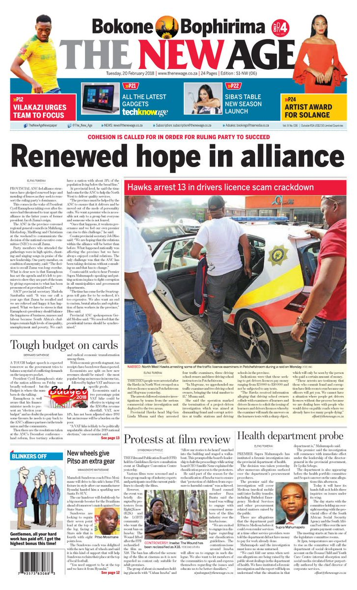 Renewed hope in alliance. Get the full story in todays copy of The New Age newspaper, for only R4.00. NW Edition