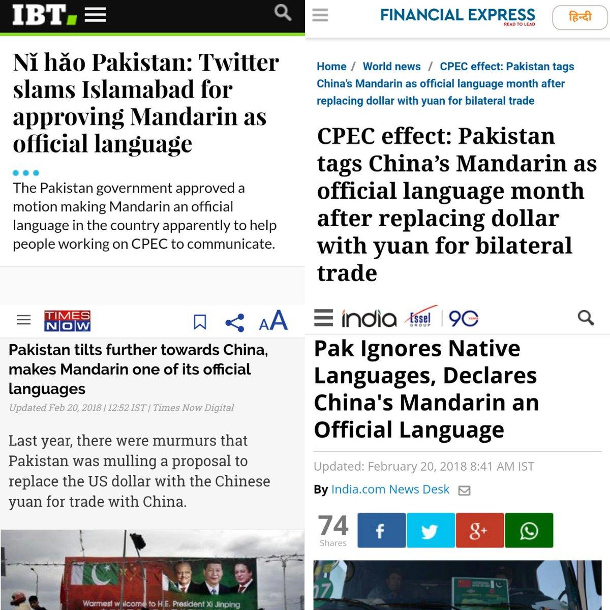 Pakistan is not adopting Mandarin as an official language