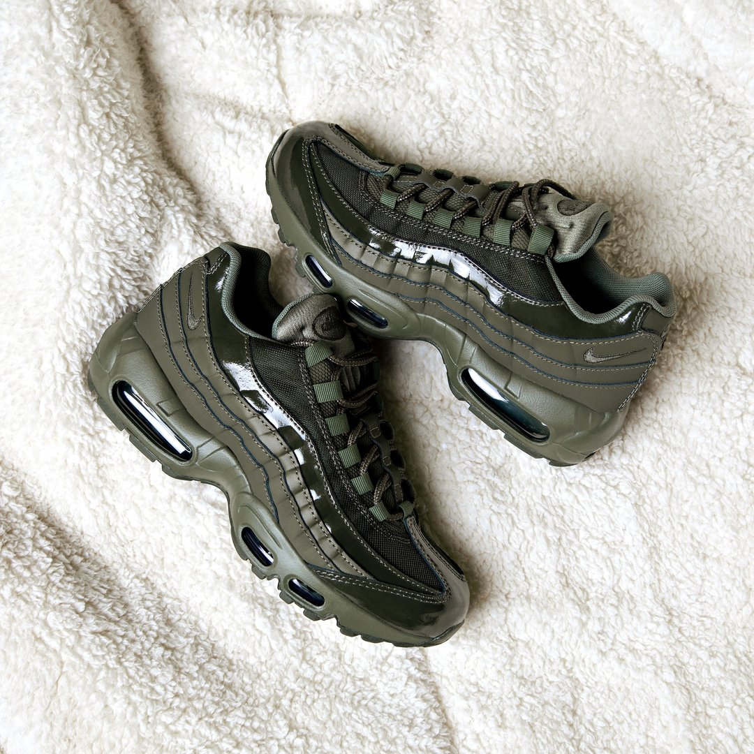 The Women s  nike Air Max 95 Patent in Cargo Khaki. Available now via the  link - http   bit.ly 2oizVOM pic.twitter.com DTKc34M3en 01e3a05acb