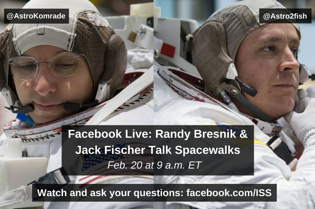 Questions about spacewalks? @Astro_Komrade &  wi@Astro2fishll be answering live from 's @NASA_JohnsonNeutral Buoyancy Lab training pool on the International Space Station Facebook page momentarily: https://t.co/mYvPD8Knsn