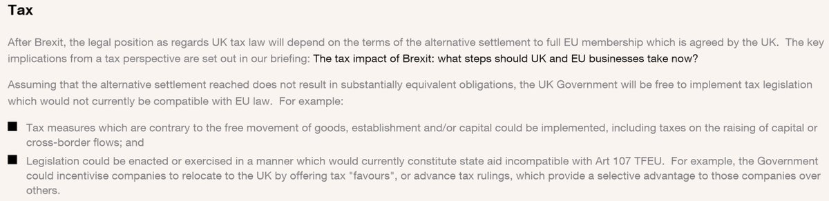 Screenshot of Clifford Chance Brexit briefing, section on tax including this line: