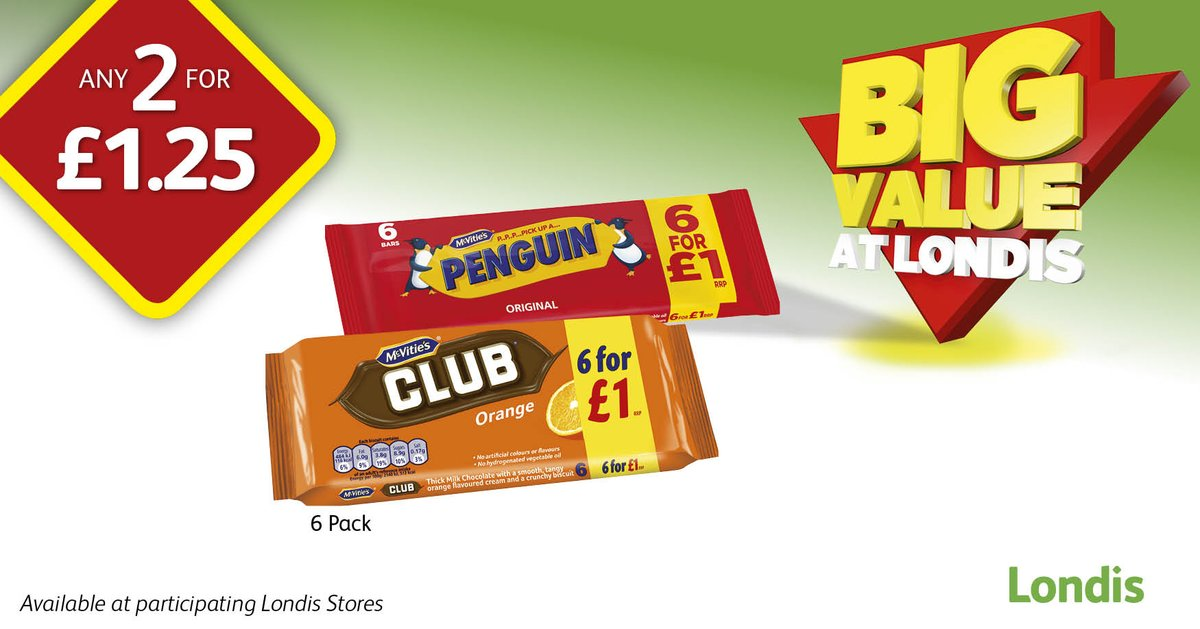 Cant decide on your favourite @McVities biscuit bar? Buy one of each 6 pack for only £1.25 at your local @myLondis! #Club #Penguin