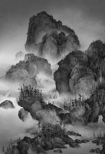 「ブレードランナー」や「攻殻機動隊」に描かれたディストピア的なアジアもいいけど、杨泳梁 (Yang Yongliang)が描くサイバーパンク山水画にもシビれる。