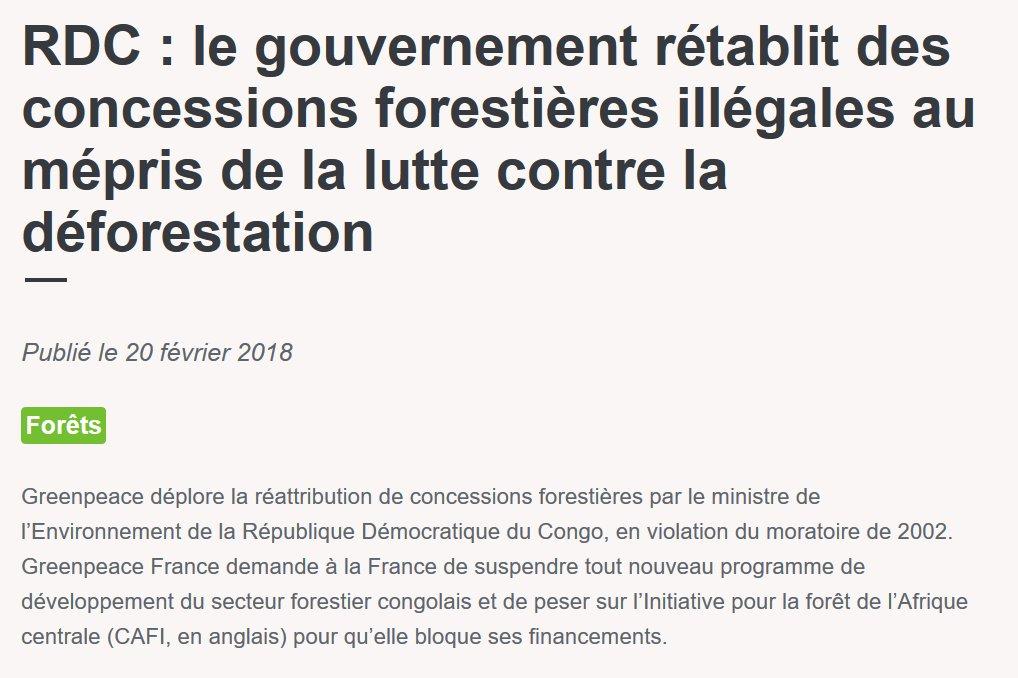 #Forêts — En RDC, les violations répétées du moratoire doivent être suivies de sanctions et les financements de la @CAFISecretariat suspendus. #afrique #déforestation En savoir plus ➡️ https://t.co/G9B8EaPXGL
