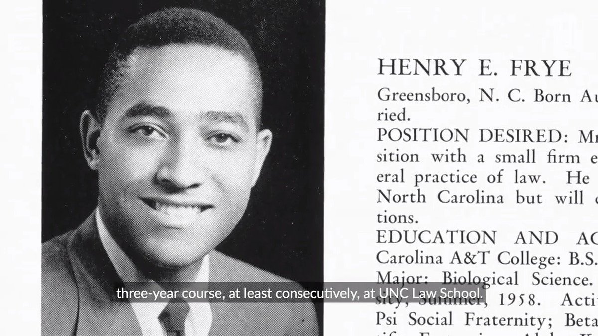 During his time at #UNC, former North Carolina Supreme Court Chief Justice Henry Frye paved the way for future Tar Heels and became the first black student of @unc_law. Learn more about his career of building bridges ⤵️ https://t.co/QWHOOgM5qa https://t.co/jvhMSxBXWp