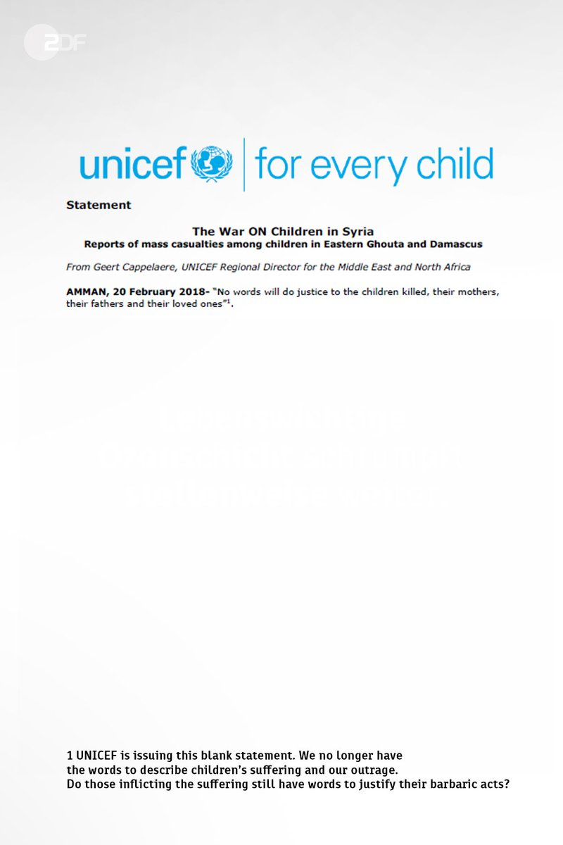 Mit einer ungewöhnlichen Erklärung hat das UN-Kinderhilfswerk @UNICEF die  heftigen Angriffe auf das syrische Rebellengebiet Ost-Ghuta angeprangert. Die Organisation veröffentlichte am Dienstag eine weitgehend leere Mitteilung.