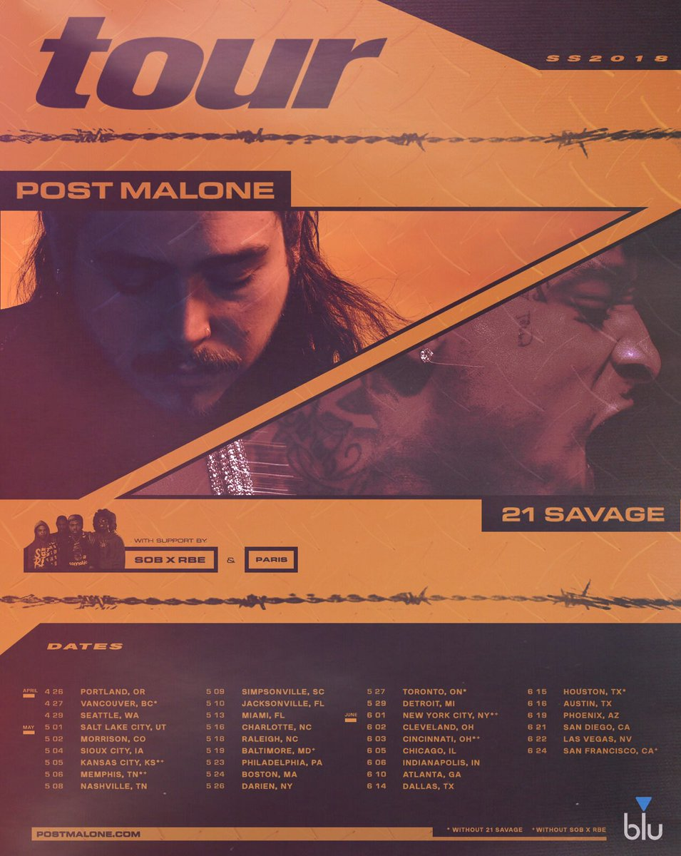 tour with @21savage @SOBxRBE & @prodbyparis fan pre-sale starts at 2pm local time password is rockstar 🍻 🍻