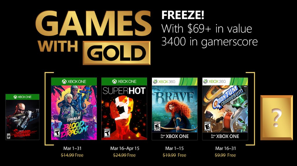 Xbox Live Games with Gold March 2018