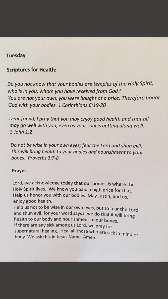 Tuesday - Prayer for HEALTH  #praying4jb...