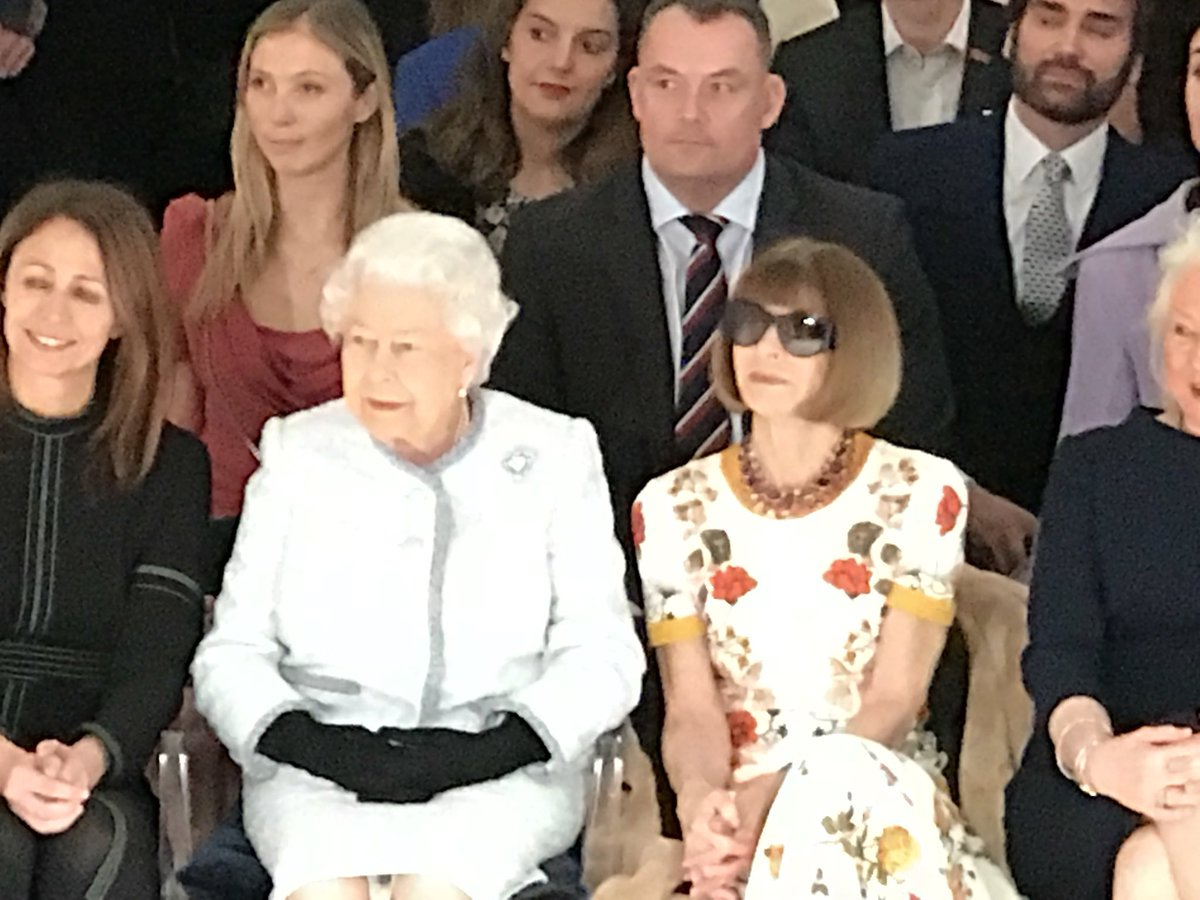 So the Queen just sat FROW at Richard Quinn's #LFW presentation and that is completely normal.