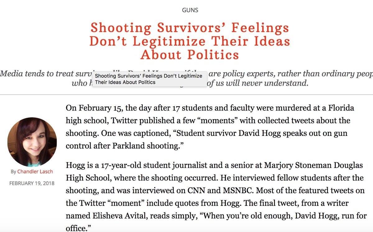 'Parkland students aren't credentialed to talk about the gun debate' is one of the worst takes of all time, especially when it comes from people who don't have very much relevant life experience themselves.