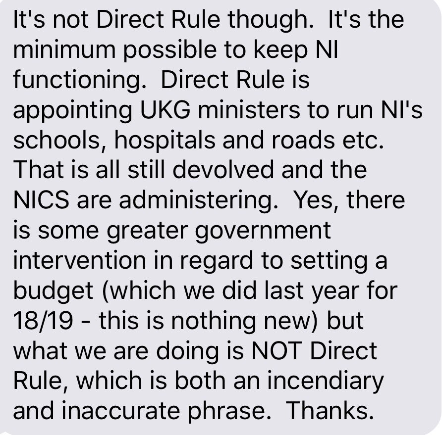 See attached for Northern Ireland Office on why this not direct rule. My point is that surely NI Secretary will allocate new budget set by Westminster. I will revert when I know more. But I'm struck that definition of devo is schools & hospitals run by unelected civil servants