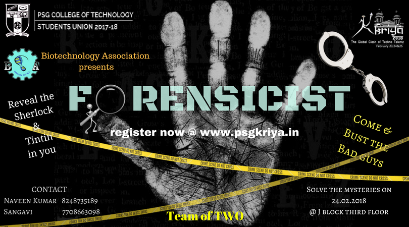 For More Details Visit Psgkriyain KRIYA Psgtech Techfest FORENSICIST Pictwitter H8YCtEjAnS