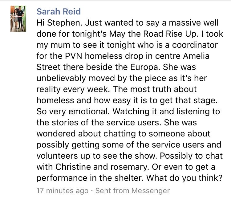 test Twitter Media - @BigTellyNI @DebrellenHill @prime_cut @KaboshTheatre @sitwtheatrecomp @SolePurpose_ Also, tonight's feedback from our show at Lyric around homelessness...#ArtsMatterNI https://t.co/46ak6kKonh