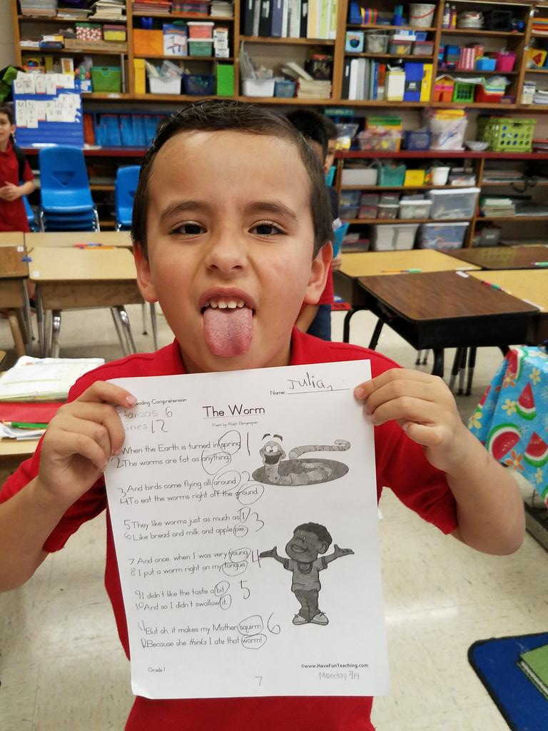 Using funny poetry makes the study of poetry so much more fun! The kids were grossed out by the boy putting the worm on his tongue, but they liked the ending even better! #lightupliteracy @villarealhawks1 @PaulLeal8 @lulchallenge