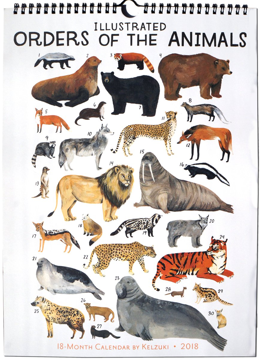 What a great way to celebrate #LoveYourPetDay w/ Kelsey Oseids Illustrated Orders Of The Animals 2018 High Note Designer Wall Calendar now 30% off at rsvp.com/product/illust… w/#couponcode CAL30 at checkout. #AnimalLovers @kelzuki #animals #pets #2018calendar #HighNoteCollection