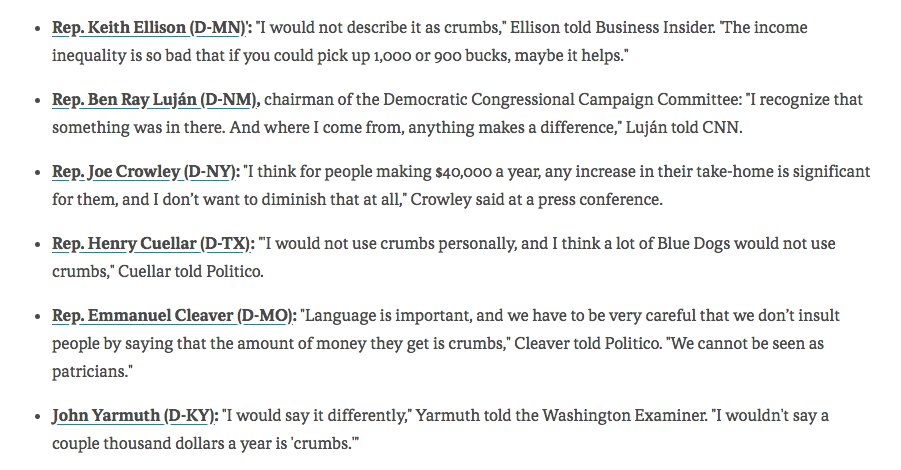 """Even @NancyPelosi's fellow Democrats in Congress are backing away from her """"crumbs"""" comments.  #GOPTaxPlan  axios.com/prominent-demo…"""