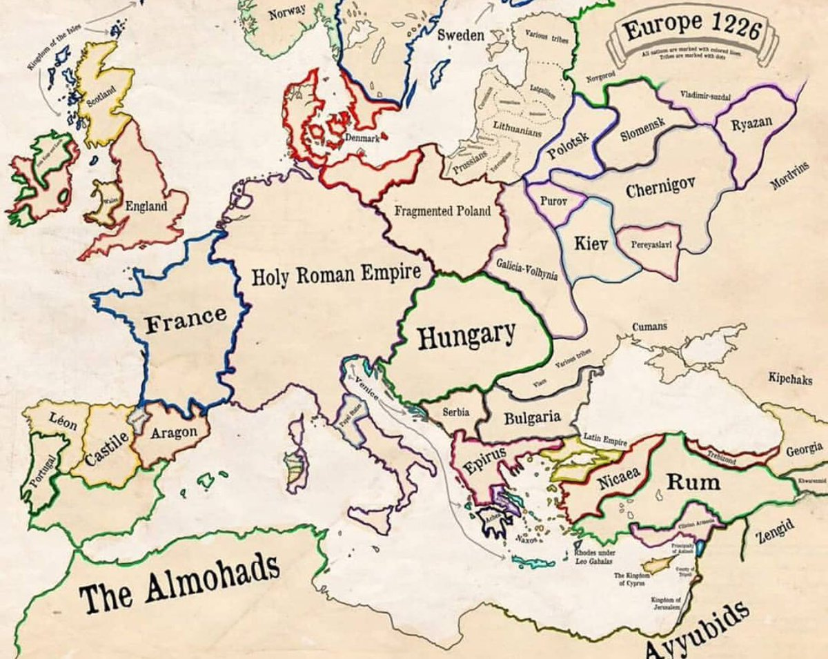 paul b barbs on twitter cool map of europe circa 1226 with