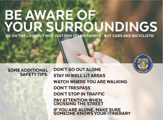 Safety first! Always good to review safety tips and as always, report all suspicious activity by calling 911. #SeeSomethingSaySomething