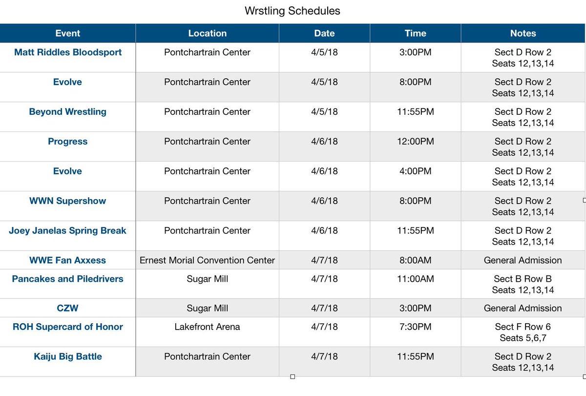 @beyondwrestling @WWNEVOLVE @GCWrestling_ #JJSB2 @ThisIs_Progress @PWRevolver @combatzone @ringofhonor @KaijuBigBattel @Rhowdy17 and my schedule for Mania Weekend